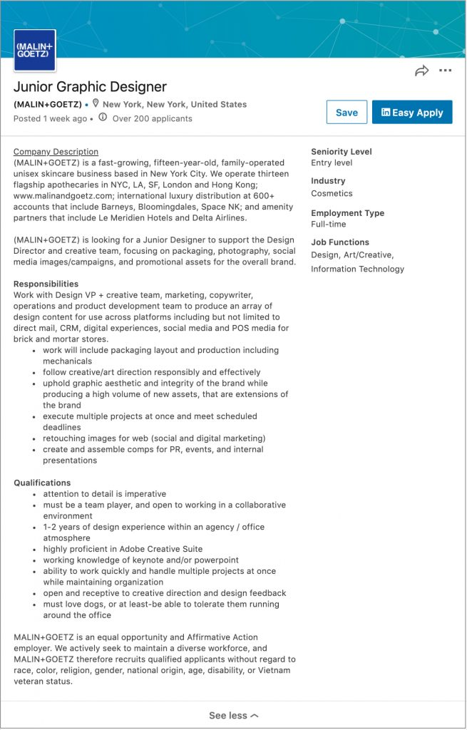 Example screen shot of a job listing for a Junior Graphic Designer